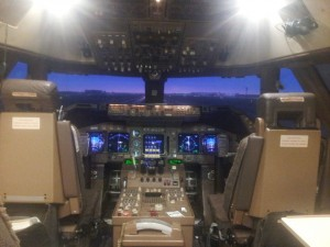 The simulator set up for takeoff